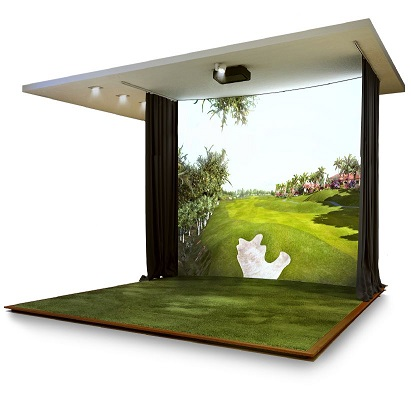 Trackman virtual indoor golf simulator in CT